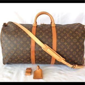 💯%louis Vuitton Keepall 55 Bandouliere